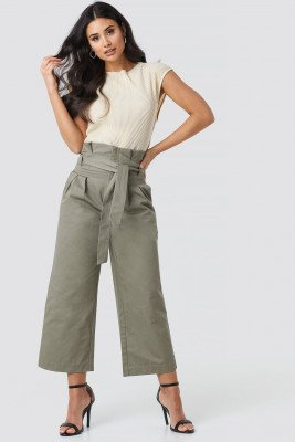 NA-KD Trend NA-KD Trend Tied Waist Wide Cotton Pants - Green