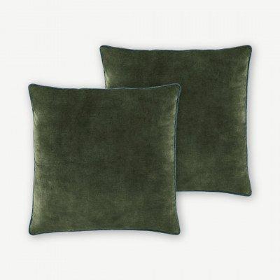 MADE.COM Castele set van 2 fluwelen kussens, 50x50cm, donkergroen