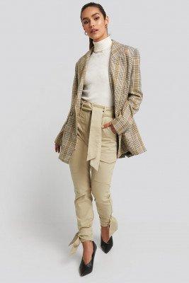 NA-KD NA-KD Ankle Tie Cargo Slim Fit Pants - Beige