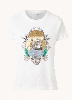 MUNTHE MUNTHE Trek T-shirt van biologisch katoen met frontprint