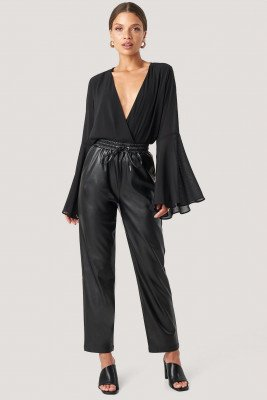NA-KD Drawstring Pu Pants - Black
