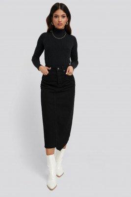 NA-KD Trend Asymmetric Hem Denim Skirt - Black