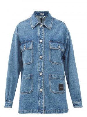 Miu Miu - Logo-patch Oversized Denim Jacket - Womens - Denim