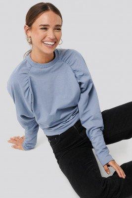 NA-KD NA-KD Oversized Raglan Sleeve Detailed Sweater - Blue