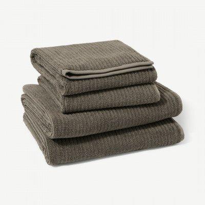 MADE.COM Ivo set van 4 handdoeken, 100% biologisch katoen, antracietgrijs