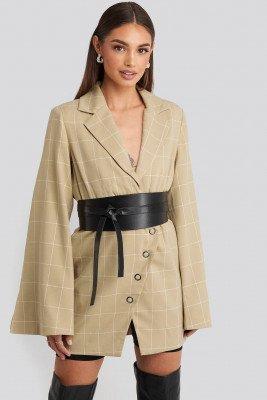 Hoss x NA-KD Checked Asymmetric Dress - Beige
