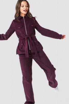 NA-KD Straight Corduroy Pants - Purple