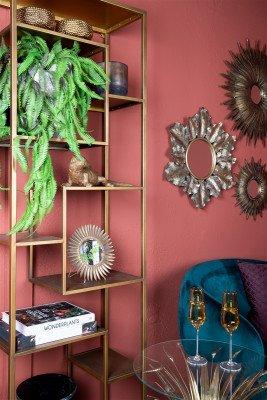 Firawonen.nl PTMD Noreen Gold ijzeren blad spiegel rond