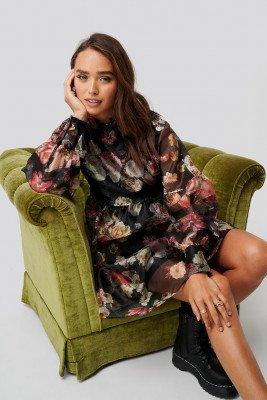 Trendyol Trendyol Organza Flower Patterned Dress - Multicolor
