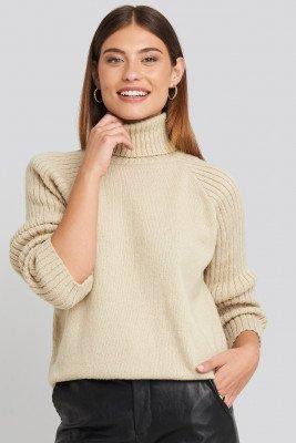 NA-KD NA-KD High Neck Ribbed Sleeves Sweater - Beige