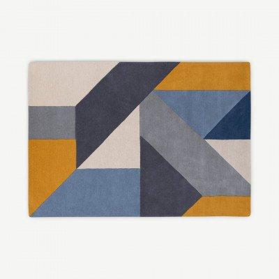 MADE.COM Holden geometrisch handgetuft wollen vloerkleed, X grote, 200 x 300cm, blauwtinten