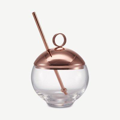 MADE.COM Hepburn NUDE Glassware mengglas met koperen deksel