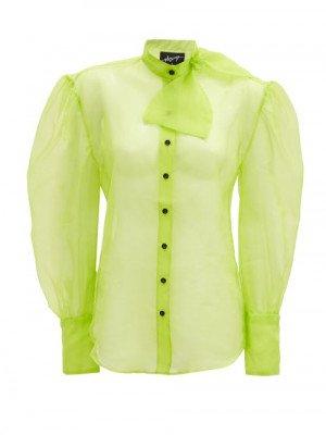 Matchesfashion Elzinga - Neck-tie Silk-organza Blouse - Womens - Green