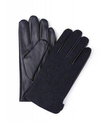 Profuomo Profuomo heren navy gebreide leren handschoenen