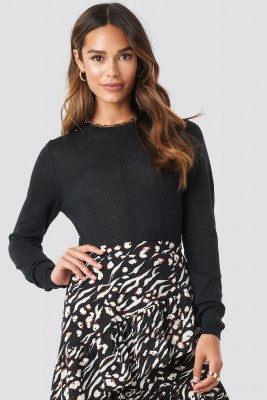 NA-KD Trend NA-KD Trend Sheer Round Neck Knitted Top - Black
