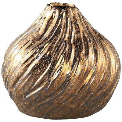 Firawonen.nl Linly gold ceramic vase round