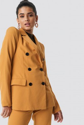 NA-KD Classic NA-KD Classic Contrast Buttons Blazer - Yellow