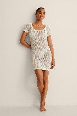 NA-KD Trend NA-KD Trend Organisch Gebreide Mini-jurk Met Structuur - Offwhite