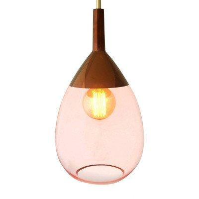 Ebb en Flow EBB & FLOW Lute glazen hanglamp rosé met koper