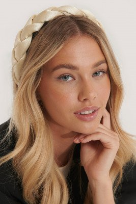 NA-KD Accessories NA-KD Accessories Grote Gevlochten Haarband - Offwhite