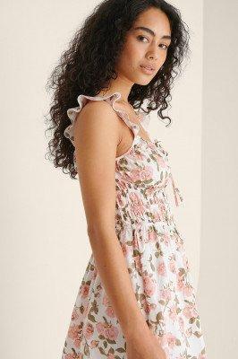NA-KD NA-KD Organisch Katoenen Gerimpelde Mini-jurk - Multicolor