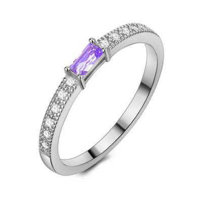 Twice As Nice Ring in zilver, baguette zirkonia, amethyst kleur, 48