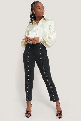Romy x NA-KD Romy x NA-KD Button Front Jeans - Black