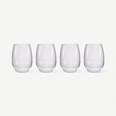 MADE.COM NUDE Glassware set van 4 ronde glazen, transparant