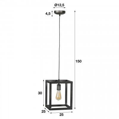 LifestyleFurn Hanglamp 'Terrance' 1-lamps 25 x 25cm