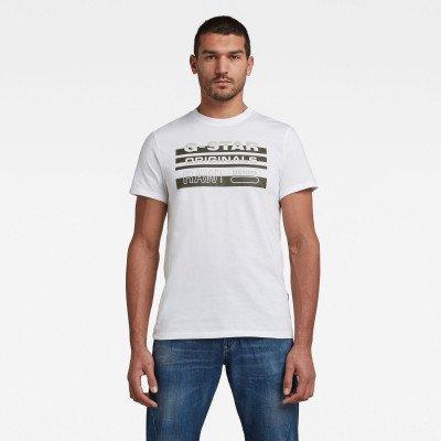 G-Star RAW Originals Stripe Logo T-Shirt - Wit - Heren
