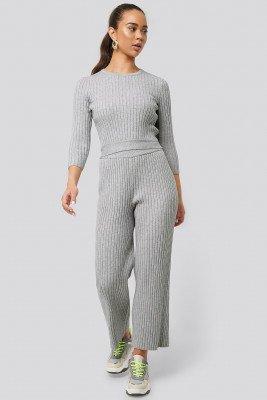 NA-KD Ribbed Knitted Culottes - Grey