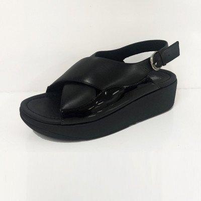 FitFlop FitFlop Myla Leather Back-Strap sandalen zwart