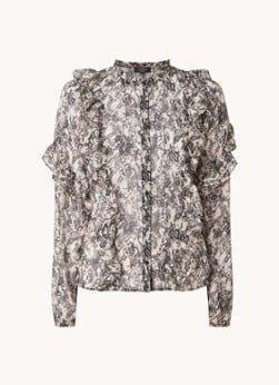 NIKKIE NIKKIE Animal Ruffle blouse met ruches en slangenprint