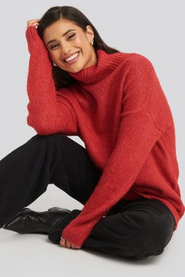 NA-KD NA-KD Folded Oversized Knitted Sweater - Red