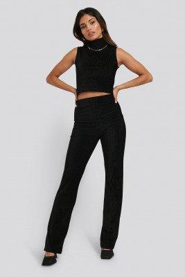 NA-KD Shimmer Detail Pants - Black