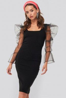 Trendyol Trendyol Detailed Sleeve Dress - Black