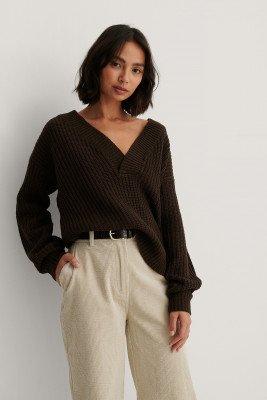 Rut&Circle Knit Met V-Hals - Brown