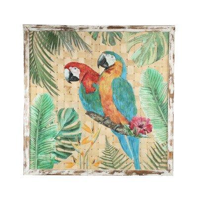 Firawonen.nl Botanical green woven bamboo parrot painting