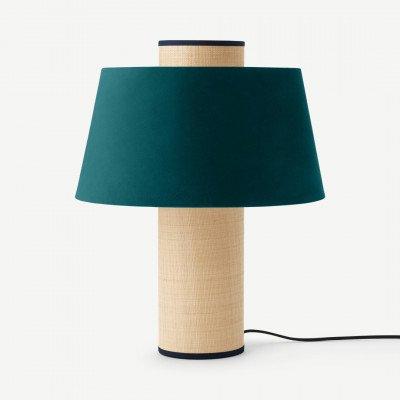 MADE.COM Haroon tafellamp, pauwblauw fluweel en raffia