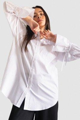 nu-in 100% Organic Tie Cuff Oversized Poplin Shirt