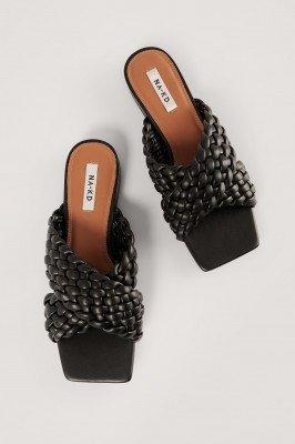 NA-KD Shoes NA-KD Shoes Flats Met Gekruiste Bandjes - Black