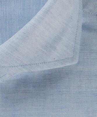 Michaelis Michaelis heren twill overhemd blauw strijkvrij