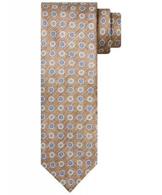 Profuomo Profuomo heren camel zijden print stropdas