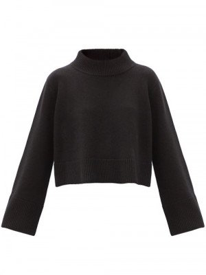 Matchesfashion Co - High-neck Cropped Wool-blend Sweater - Womens - Black