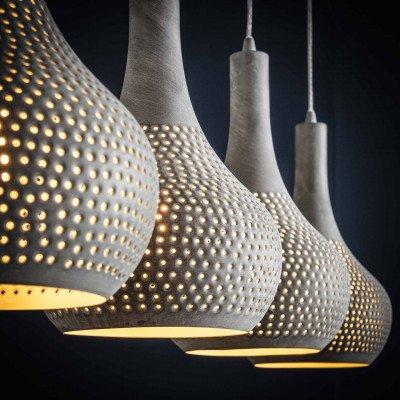 LifestyleFurn Hanglamp 'Judd' 4-lamps, kleur grijs