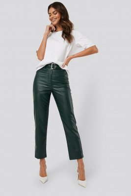 AFJ x NA-KD Belted Pu Leather Pants - Green