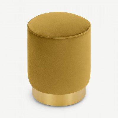 MADE.COM Hetherington kleine poef met messing onderkant, vintage goud fluweel