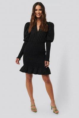 NA-KD Party NA-KD Party Smocked LS Puff Sleeve Dress - Black