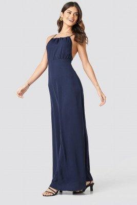 NA-KD Party Tie Back Maxi Dress - Blue