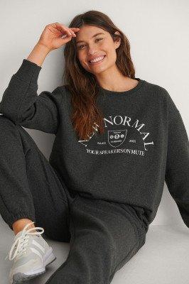 NA-KD Trend NA-KD Trend Organisch Geborduurde Sweater - Grey
